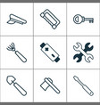 equipment icons set with rake saw battery and vector image vector image