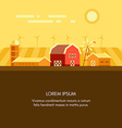 Farm barn grain field windmills and sunrise vector image vector image