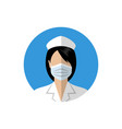 female doctor icon nurse wearing a medical mask vector image vector image