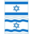Flat and waving Israeli Flag vector image vector image