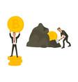flat bitcoin mining businessman concept set vector image vector image