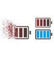 fragmented pixel halftone battery icon vector image