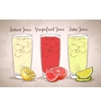 Glasses of juices on a retro background vector image vector image