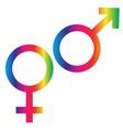gradient rainbow male female symbols vector image vector image