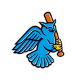great horned owl baseball mascot vector image vector image