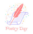 greeting card world poetry day vector image vector image