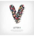 group people shape letter V vector image vector image