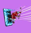 hockey player phone gadget smartphone online vector image vector image