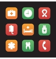 Hospital flat design icons set vector image