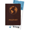 international passport with boarding pass inside vector image