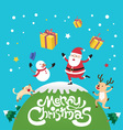 Merry Christmas with Santa Claus and snowman vector image vector image