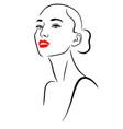 minimalist beauty portrait woman with long neck vector image vector image