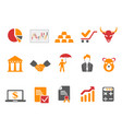 orange and red color stock exchange icons set vector image vector image