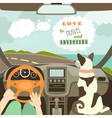 Owner having a car trip with their dog vector image vector image