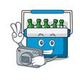 photographer freezer bag mascot cartoon vector image