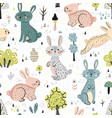 rabbits in woods cute seamless pattern vector image