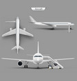 realistic aircraft airplane mockup set vector image