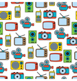 Retro electronic seamless pattern vector image