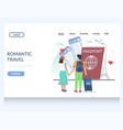 romantic travel website landing page design vector image