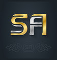 s and a initial gold and silver logo sa vector image