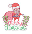 santa claus with bag and branches leaves vector image vector image