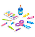 school supplies for painting and application glue vector image