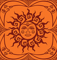 seamless pattern of tribal sun and crescent moon