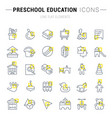 set line icons preschool education vector image