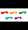 set of colored arrows pointing right new bright vector image vector image