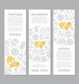 set of three digital beer pub and bar vertical vector image