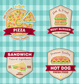 set vintage fast food badges banners and logo vector image vector image