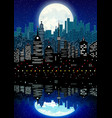 silhouette city and night sky with reflection vector image