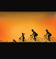 silhouette of family driving bike with beautiful vector image vector image