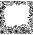 square frame with black and white doodle flowers vector image vector image
