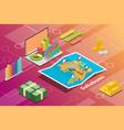 sukabumi indonesia city isometric financial vector image vector image