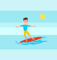 surfing sport activity and boy surfboarder surfer vector image vector image