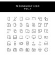 technology outline icon set vol1 vector image vector image