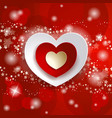 valentine with hearts on red background vector image