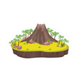 volcanic island with palm trees ancient large vector image vector image