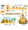 welcome to egypt symbols of egypt set of icons vector image vector image