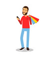 young bearded man in red pullover standing with vector image vector image