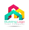abstract city building composition sign icon vector image