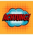 Achtung comic book bubble text retro style vector image