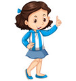 argentina girl in blue and white striped jacket vector image vector image