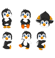 baby penguins cartoon set character vector image