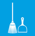 broom and dustpan icon white vector image vector image