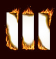 burning paper vertical banners pages with fire vector image vector image