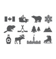 canada icons set vector image