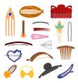 cartoon color hair accessory icon set vector image vector image
