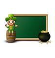 cartoon leprechaun sitting above barrel with chalk vector image